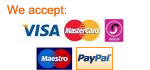 We accept: Visa, Mastercard, Maestro, Solo and PayPal payments