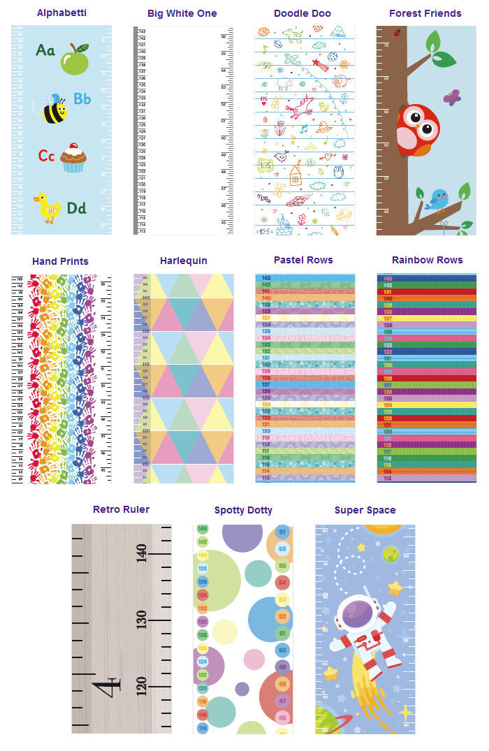 Little Wigwam Measure Me Baby Roll-up Door Frame Growth Height Chart for Children Kids Room Purplicious